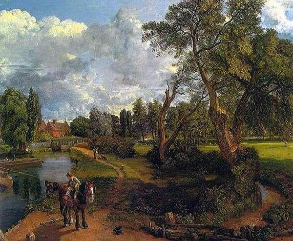 Flatford Mill(航行可能な川の上のシーン)   John Constable