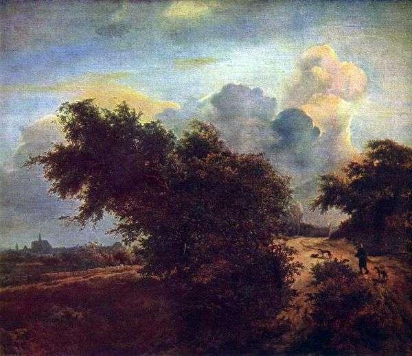 低木   Jacob van Reisdalと砂丘の中の風景