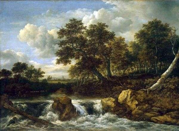 滝のある風景   Jacob van Ruisdal