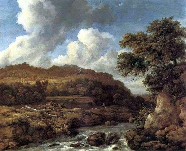 緑豊かな丘と小川のある風景   Jacob van Ruisdael