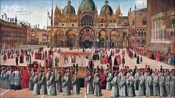サンマルコ広場   Gentile Belliniの行列