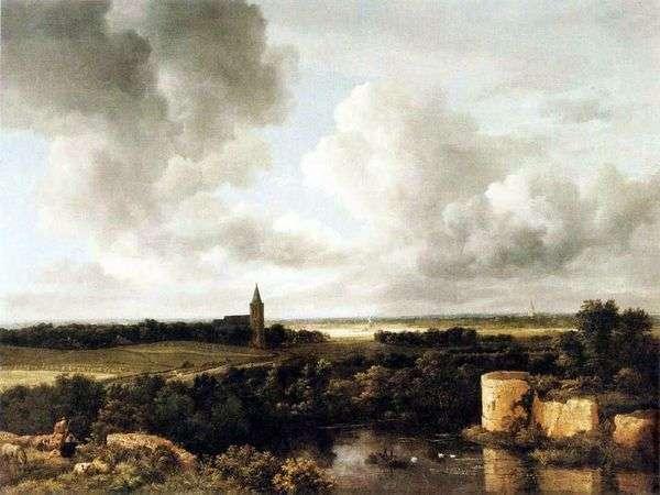 城跡と教会のある風景   Jacob van Reisdal
