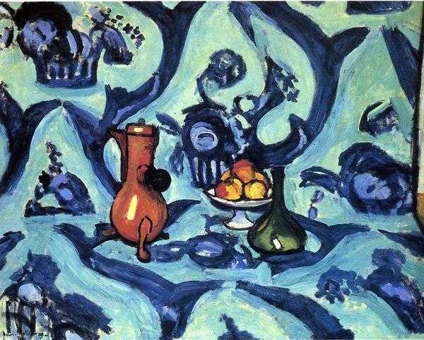 青いテーブルクロスのある静物   アンリマティス
