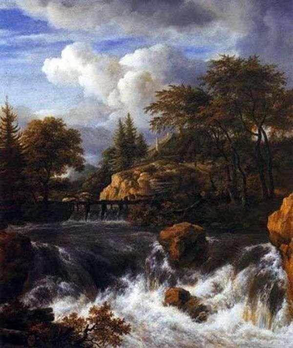 滝   Jacob van Ruisdalの岩の多い風景