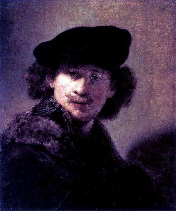 コーデュロイベレー帽の自画像   レンブラントハーメンスヴァンライン