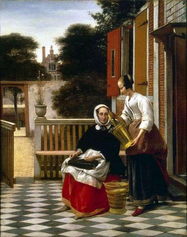 中庭での愛人とメイド   Pieter de Hoch