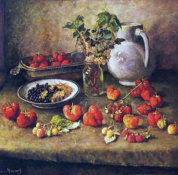 イチゴと白の水差し   Ilya Mashkov