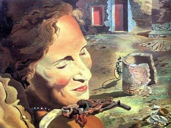 彼女の肩にバランスをとる2つの子羊の肋骨を持つガラの肖像   サルバドールダリ