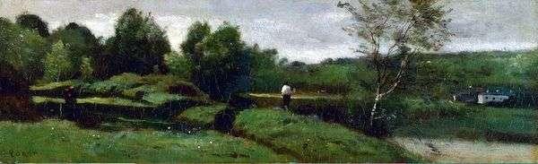 白いシャツ   Camille Corotの男の子のいる風景