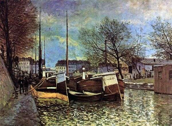 運河の上のはしけSaint Martin   Alfred Sisley