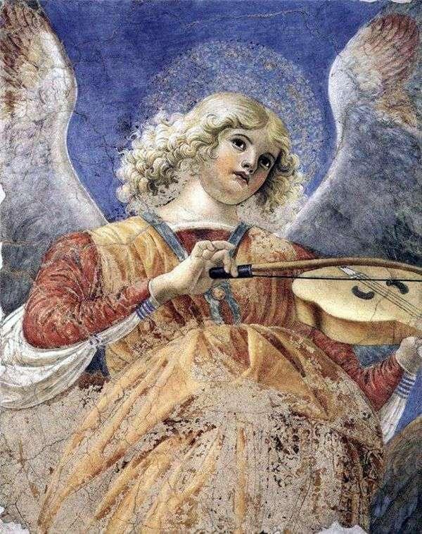 天使はビオラを弾いています。Santi Apostoli   Forli Melozzo教会からのフレスコ画の断片
