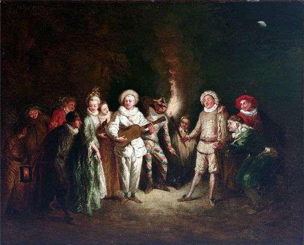 イタリアの劇場のシーン   Jean Antoine Watteau