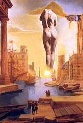 Daliの手がガラの夜明けを見せるために黄金の羊毛を盗む   Salvador Dali