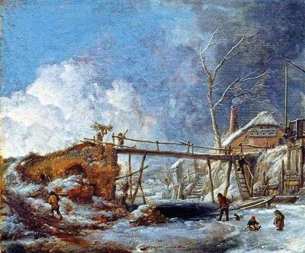 木造橋のある冬景色   Philips Vauverman