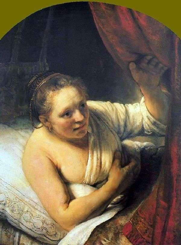 Rembrandt Harmens Van Rhine   ベッドの中で若い女性