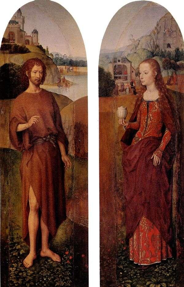 洗礼者ヨハネとマグダラの聖マリア。トリプティクサイドサッシュ   Hans Memling