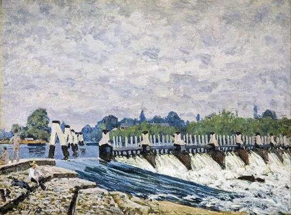 ハンプトンコート   アルフレッドシスレーの近くのモールジーのダム