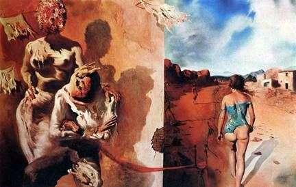 男の背中に手を置く夢   サルバドール・ダリ