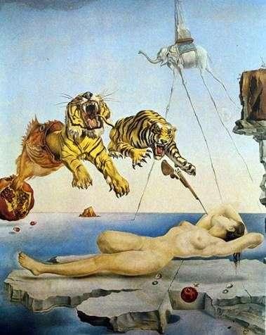 目を覚ます前に、ザクロの周りに蜂が飛び散って起きた睡眠   サルバドールダリ