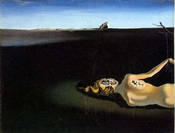 風景の中で眠っている女性   Salvador Dali