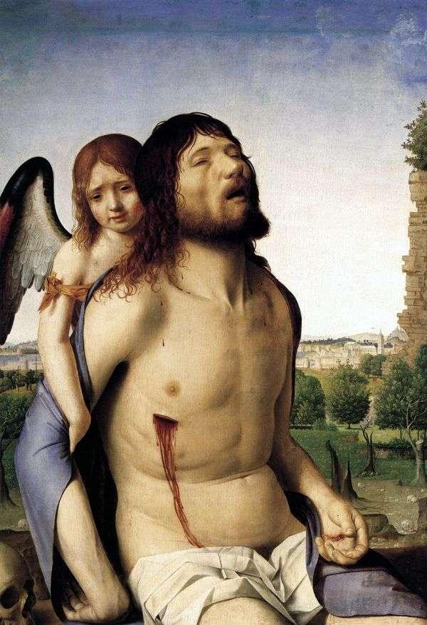 死んだキリストは天使に支えられて   Antonello da Messina