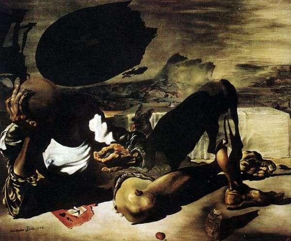 月と欠陥のある太陽に照らされた哲学者   Salvador Dali