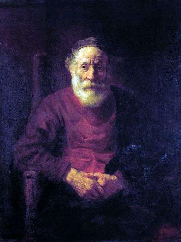 赤   レンブラントハーメンスヴァンラインの老人の肖像画