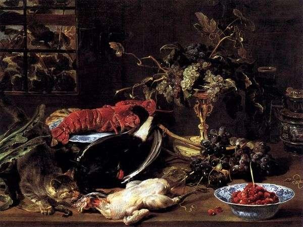 空腹の猫、ロブスター、フルーツのある静物   フランススナイダーズ