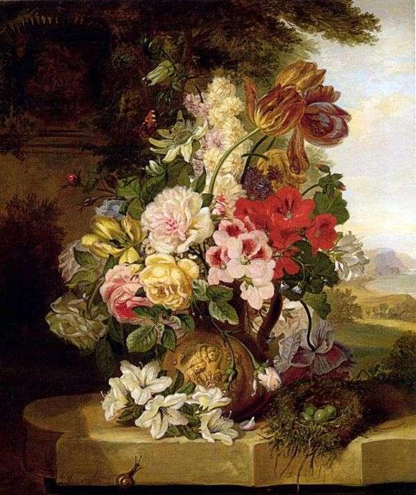チューリップ、バラ、他の花や蝶のある静物   John Weinwright