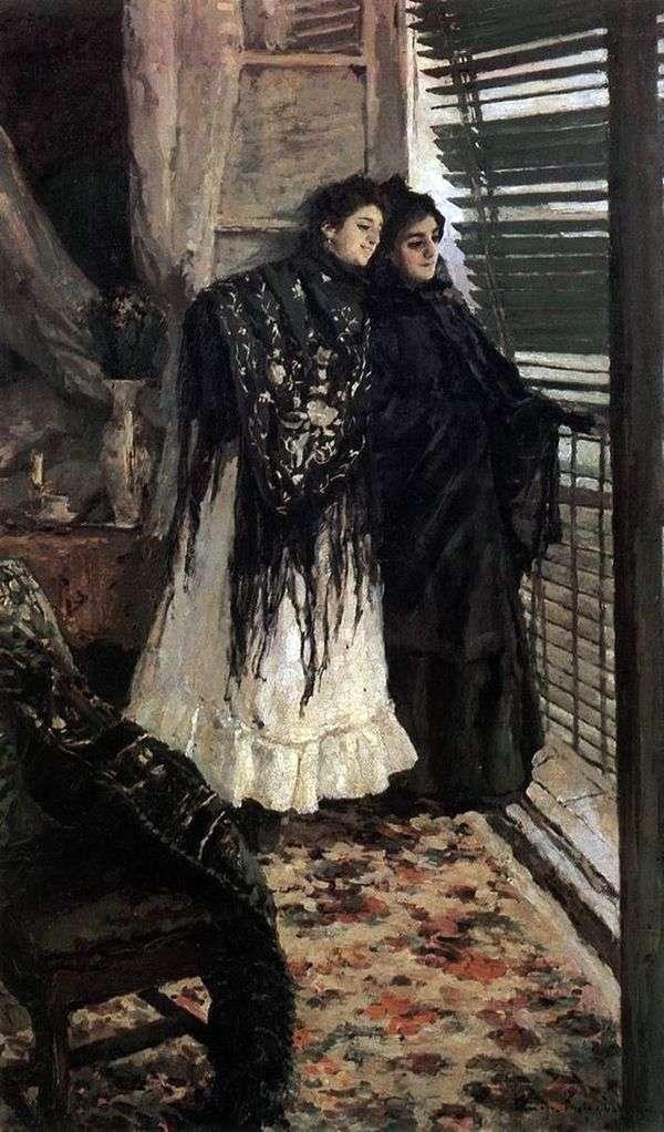 バルコニーで スペインの女性LeonoraとAmpara   コンスタンティン・コロビン