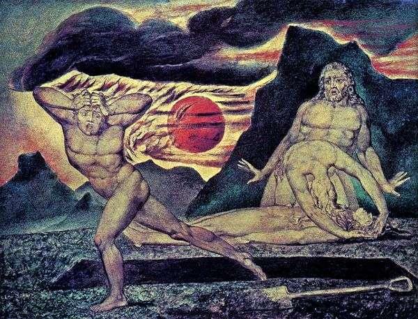 アダムとイブがアベルの遺体を見つける   William Blake