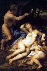 金星とキューピッド、その後ろにサテュロスが覗いている   コレッジョ(Antonio Allegri)