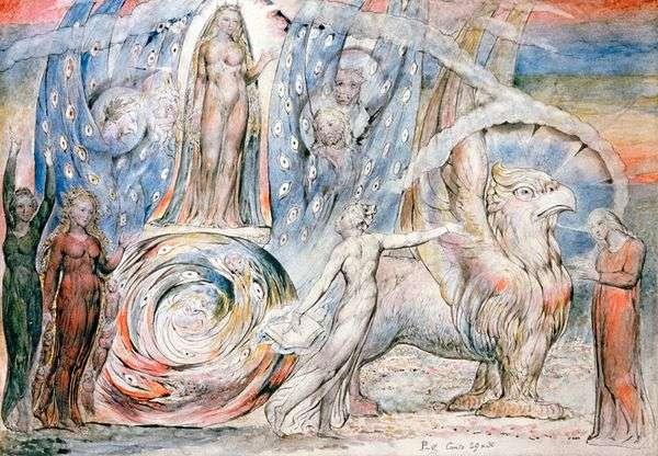 Beatriceが戦車でDanteに   William Blake