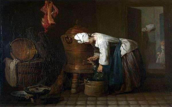 タンクから水を注ぐ女   Jean Baptiste Simeon Chardin