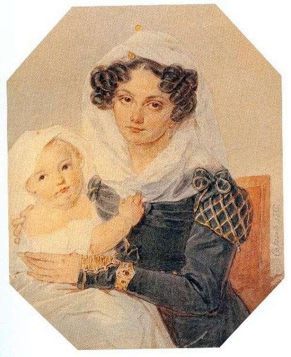 彼女の息子ニコライと一緒にVolkonskaya Maria Nikolaevnaの肖像   Peter Sokolov