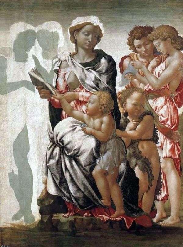 マドンナと子、洗礼者ヨハネと天使たち   ミケランジェロ・ブオナローティ