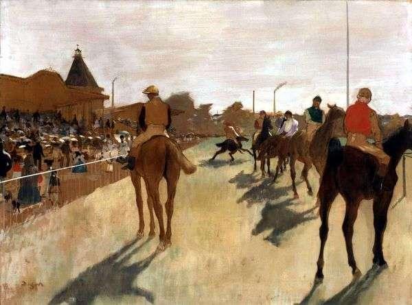 表彰台の前で騎手   エドガードガ