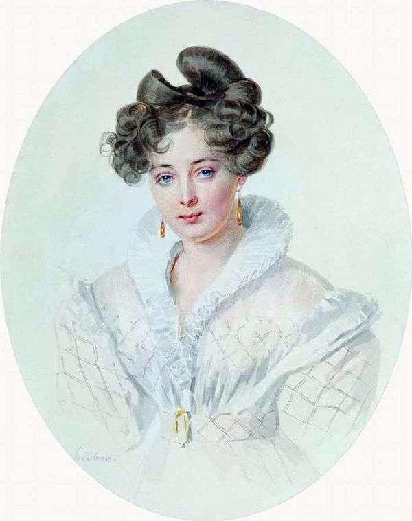 白いドレス(S. A. Urusova)の未知の女性の肖像   Pyotr Sokolov