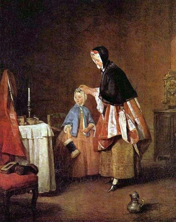 朝のトイレ   Jean Baptiste Simeon Chardin