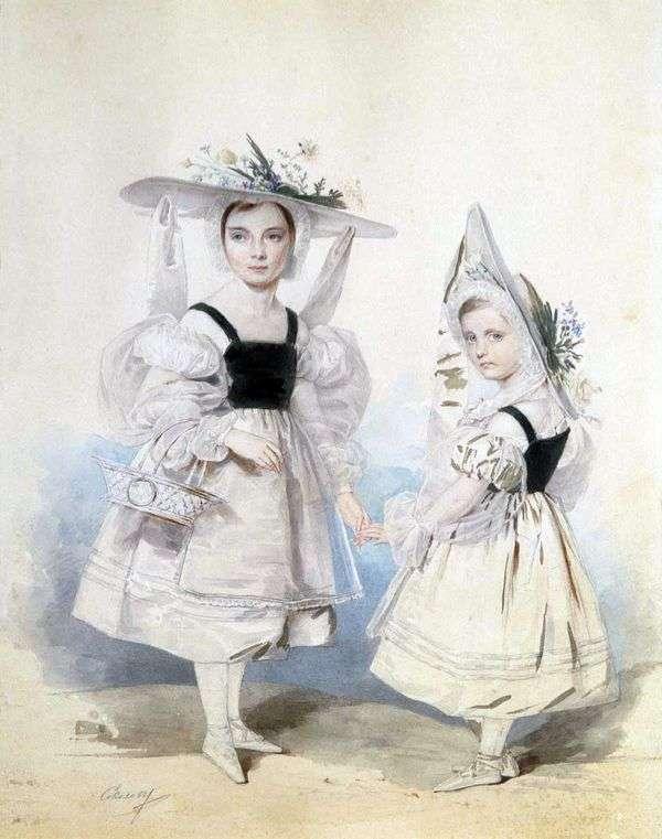 ファンシーなドレスのアンナとエカテリーナ・ヴァシルキコフの姉妹の肖像   Peter Sokolov