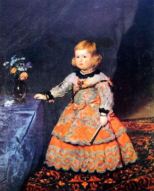 赤いドレスのインファンタマルガリータの肖像   ディエゴベラスケス