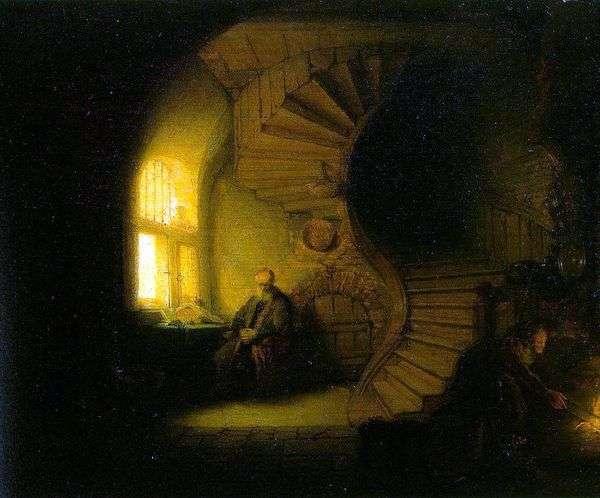 彼の部屋で瞑想する哲学者   レンブラントハーメンスヴァンライン