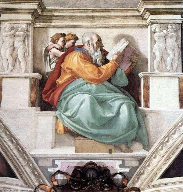預言者ゼカリヤ、洗礼者ヨハネの父(フレスコ)   ミケランジェロ・ブオナローティ