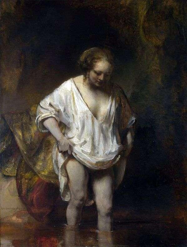 入浴女性(Hendrickje、川に入る)   レンブラントハーメンスヴァンライン