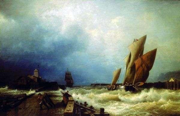 のサンヴァレリー港の嵐への漁船の入り口   Alexei Bogolyubov