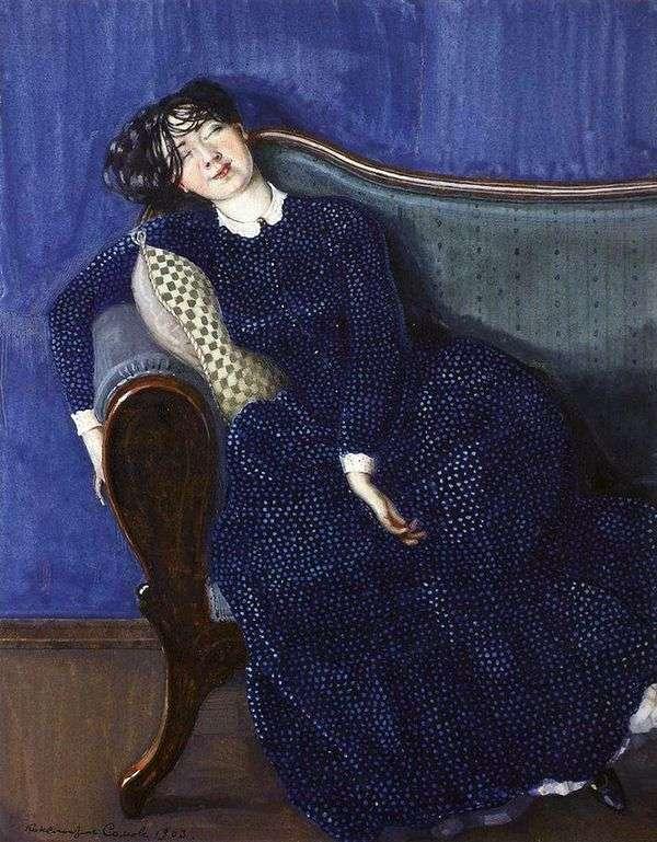 青いドレスで眠っている女性   Konstantin Somov