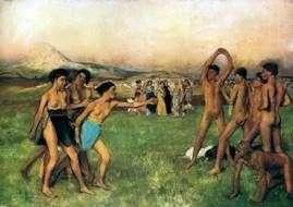 スパルタンの女の子は男の子によって挑戦されます   Edgar Degas