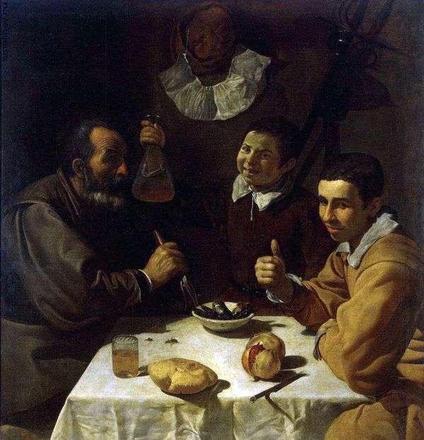 3人の男がテーブルに   Diego Velasquez