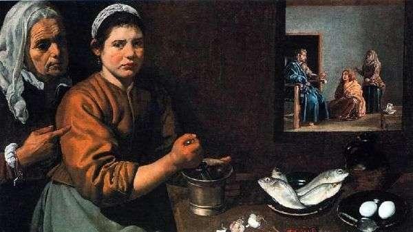マルタとマリアの家の中のキリスト   ディエゴベラスケス
