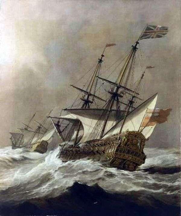 嵐の中の船   Willem van de Velde